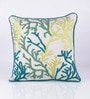 Green Cotton 18 x 18 Inch Indian Embroidered Cushion Cover by Vista Home Fashion