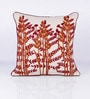 Orange Cotton 18 x 18 Inch Embroidered Cushion Cover by Vista Home Fashion