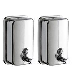 VML Silver Stainless Steel 500 ML Liquid Soap Dispensers - Set Of 2