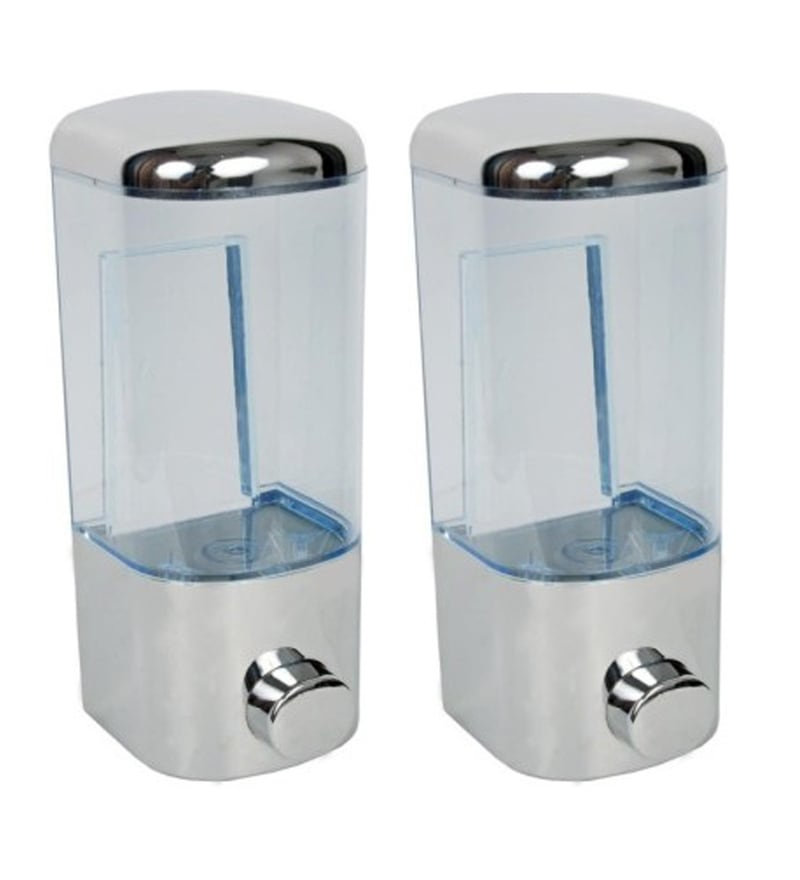 VML Silver Stainless Steel 500 ML Liquid Soap Dispensers - Set of 2