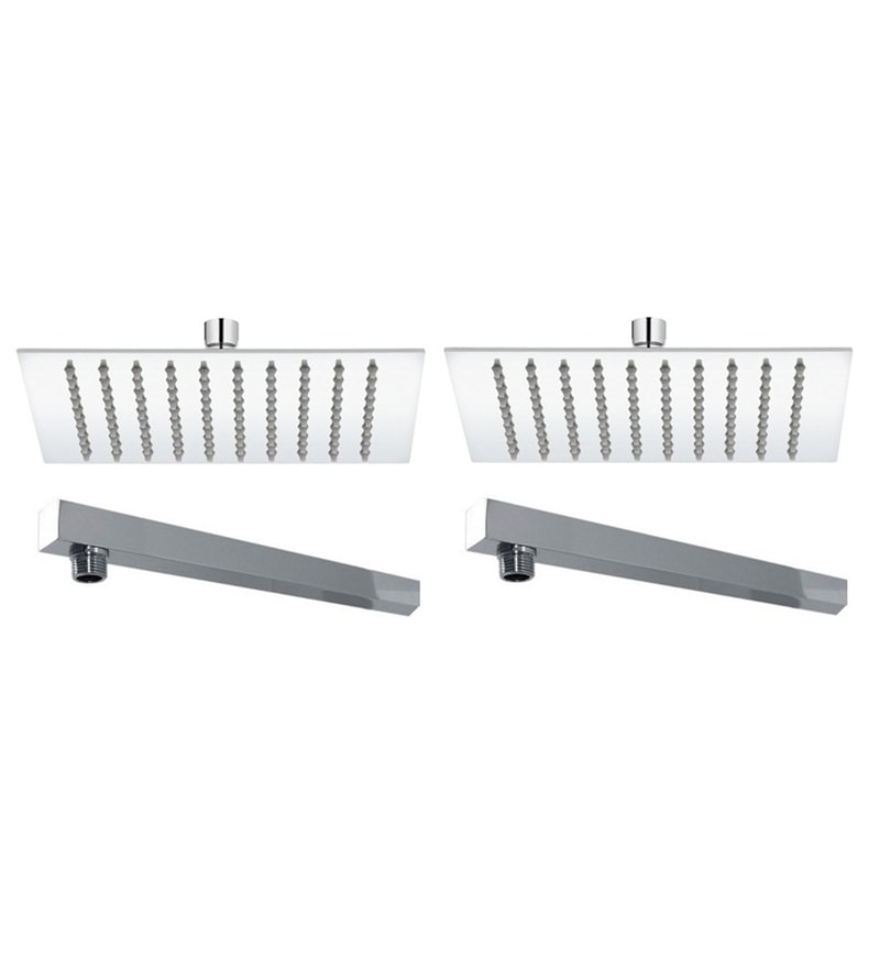 VML Ultra Slim Chrome Stainless Steel 8 Inch Overhead Shower with 15 Inch Arm - Set of 2