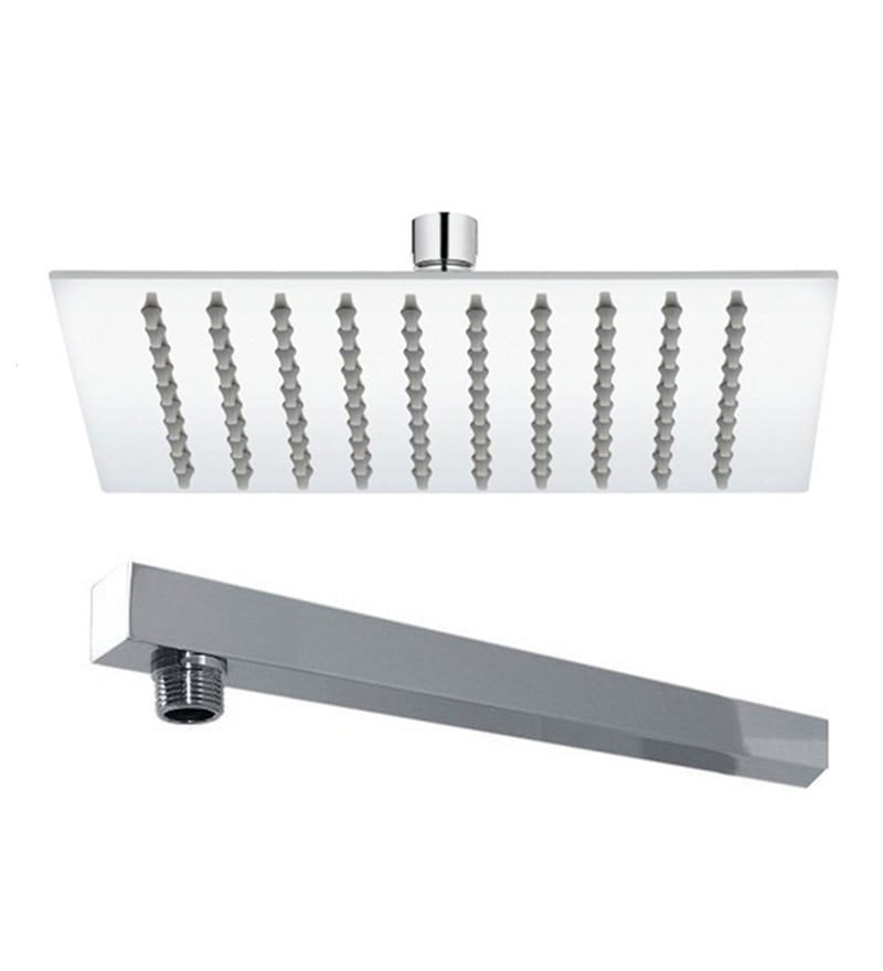 VML Ultra Slim Chrome Stainless Steel 8 Inch Overhead Shower with 15 Inch Arm
