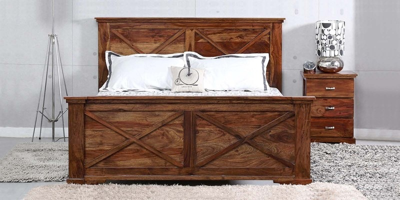 Volga Queen Size Bed in Provincial Teak Finish by Woodsworth