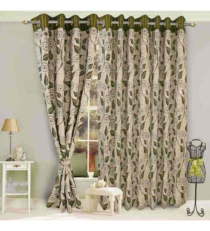 Green Polyester 84 x 45 Inch Eyelet Door Curtain- Set of 2 by Vorhang