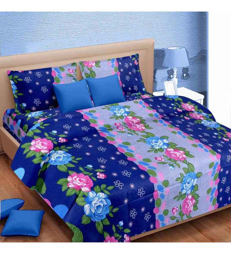 Rose Print Blue Cotton Double Bed Sheet (with Pillow Covers) by Vorhang