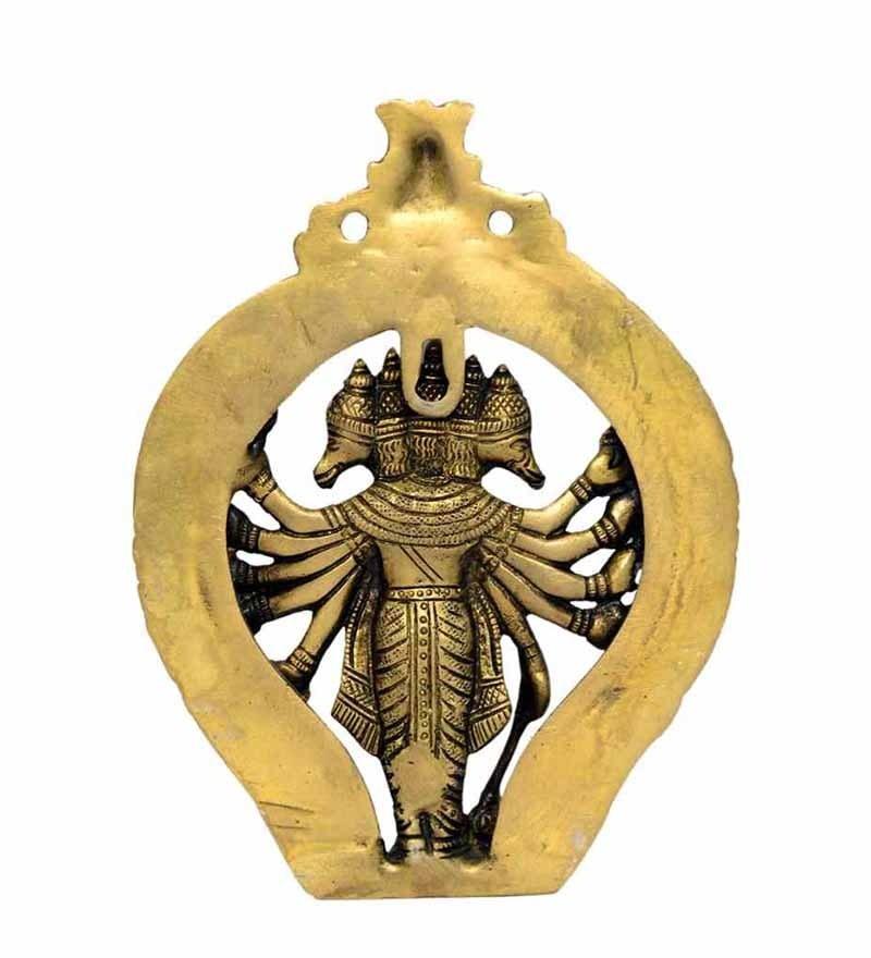 Buy vyom shop yellow brass panchmukhi hanuman wall hanging online click to zoom inout aloadofball Images