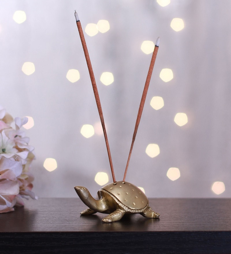 Yellow Brass Handmade Tortoise Incense Holder by Vyomshop