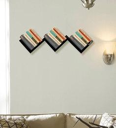 W-Shape Multi-Purpose Wall Shelf In Black Matte Finish