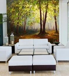 Green Non Woven Paper Summer Forest Wallpaper