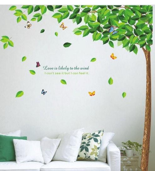 buy walltola pvc vinyl bestselling green leaves tree wall sticker