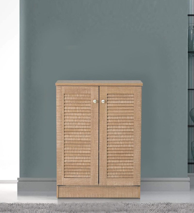 Wakana Two Door Shoe Cabinet in Oak Finish by Mintwud