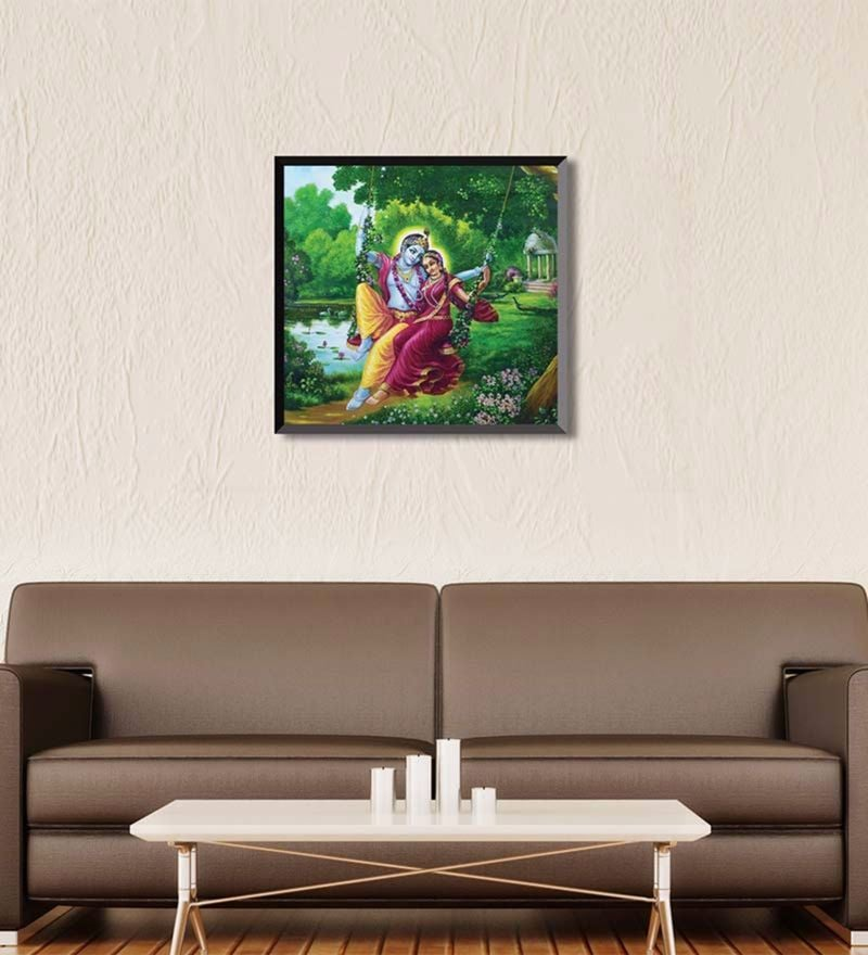 Canvas 18 x 18 Inch The Love Of Radha Krishna Framed Digital Art Print by Wall Skin