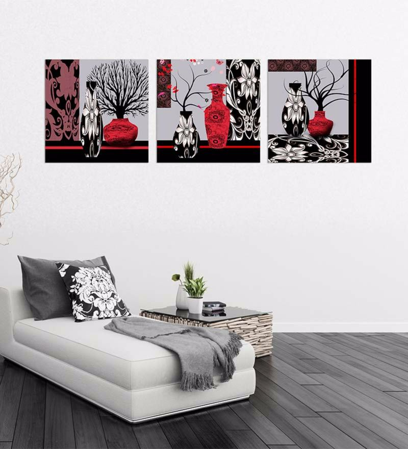 Canvas 18 x 18 Inch Vases & Trees Framed Digital Art Print - Set Of 3 by Wall Skin