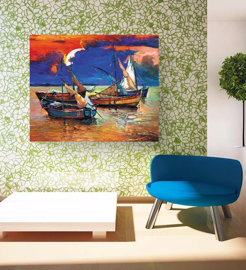 Canvas 24 x 18 Inch Fishing Boats Framed Digital Art Print by Wall Skin