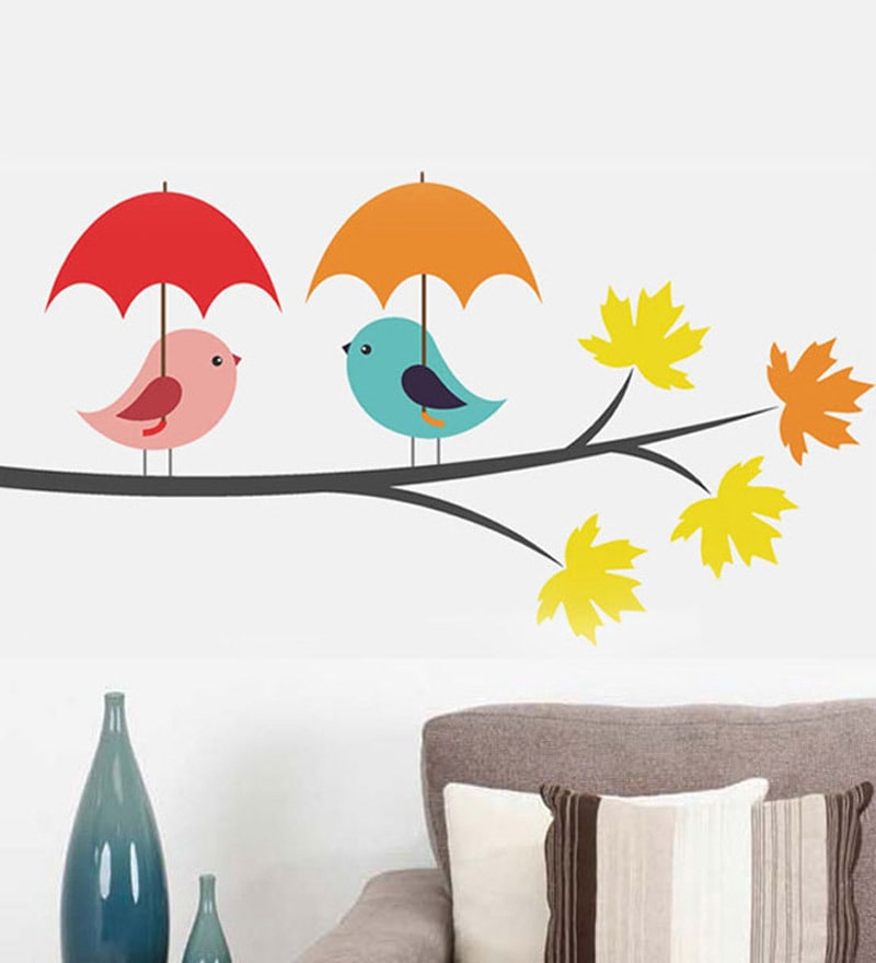 PVC Vinyl Birds Under Umbrella Wall Sticker by WallTola