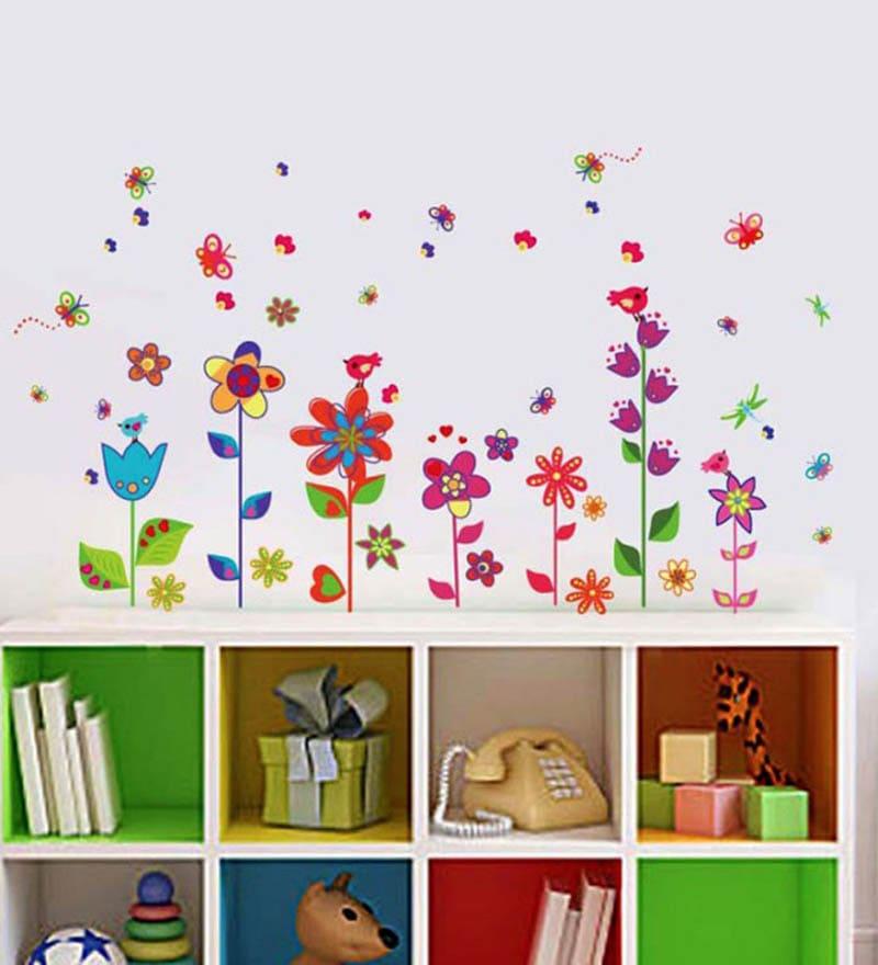 buy walltola pvc vinyl border design colorful fun flowers wall