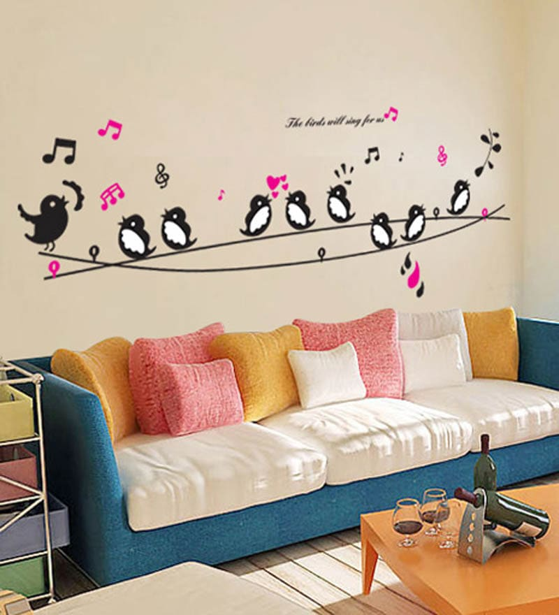 PVC Vinyl Cute Singing Birds Wall Sticker by WallTola
