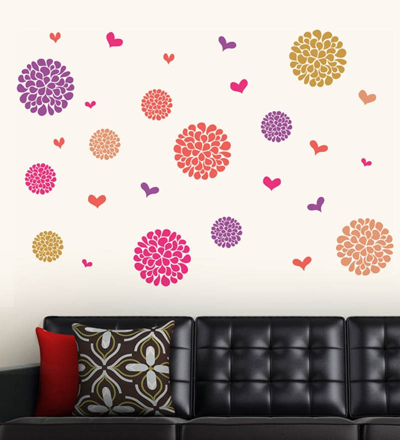 PVC Vinyl Flower Pattern Motifs Wall Sticker by WallTola