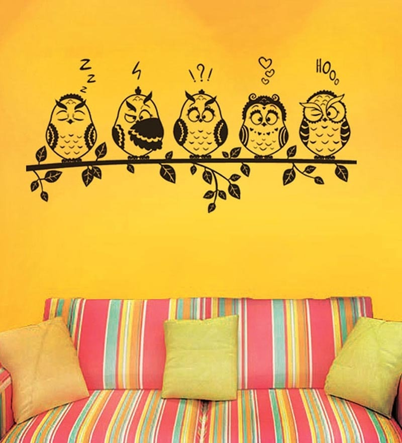 PVC Vinyl Funny Owls Emoticons Wall Sticker by WallTola