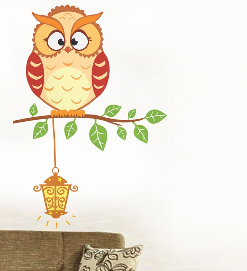 PVC Vinyl Light It Up Owl Wall Sticker by WallTola