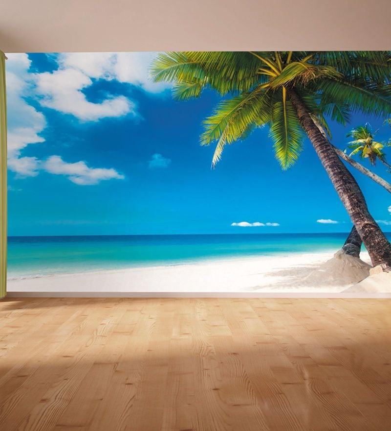 Blue Non Woven Paper Getaway Beach Wallpaper by Wallskin