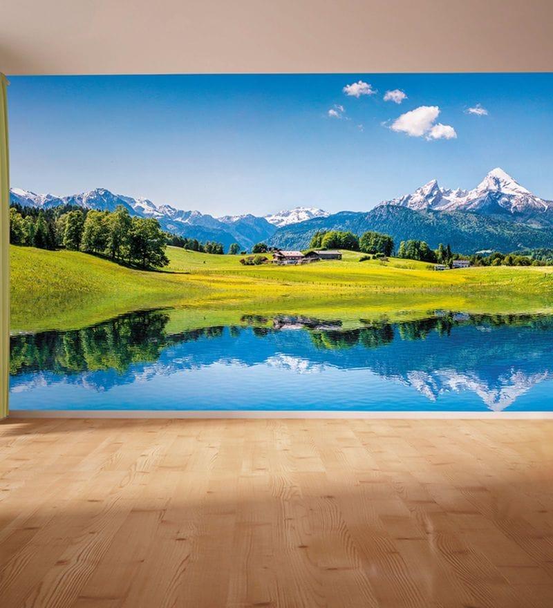 Blue Non Woven Paper Snow Cliff Mountains Wallpaper by Wallskin