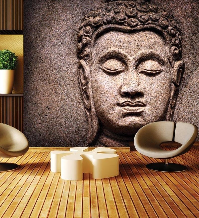 Brown Non Woven Paper Buddha Stone Wallpaper by Wallskin