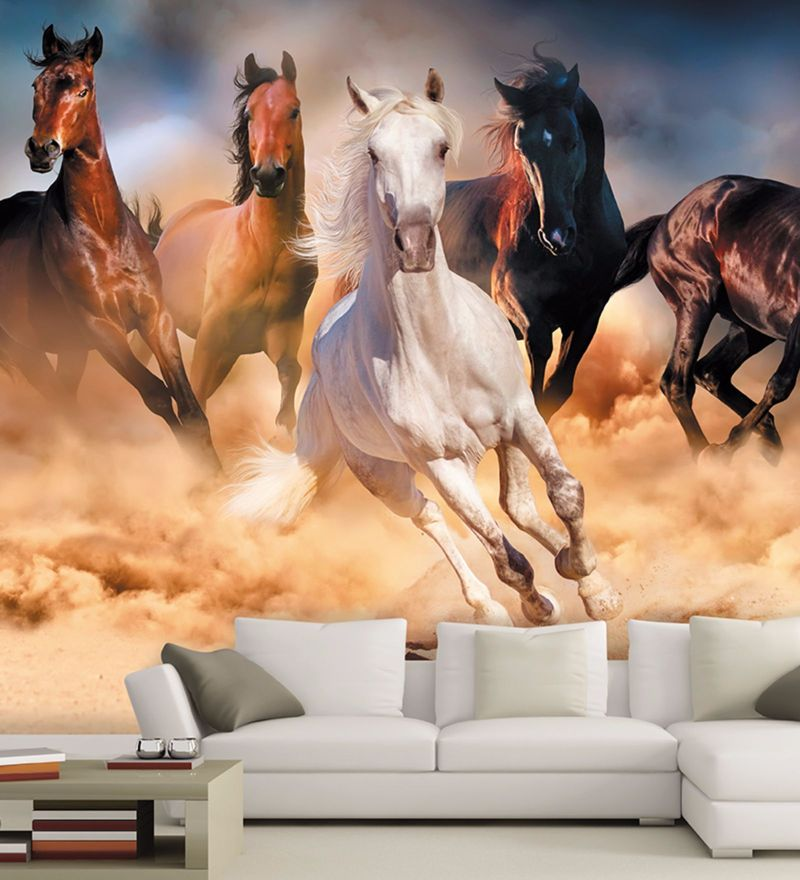 Brown Non Woven Paper Graceful Horses Wallpaper by Wallskin