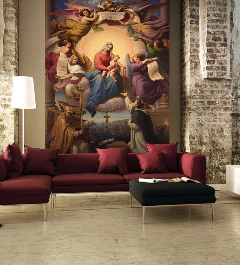 Brown Non Woven Paper Interior of Cathedral Wallpaper by Wallskin