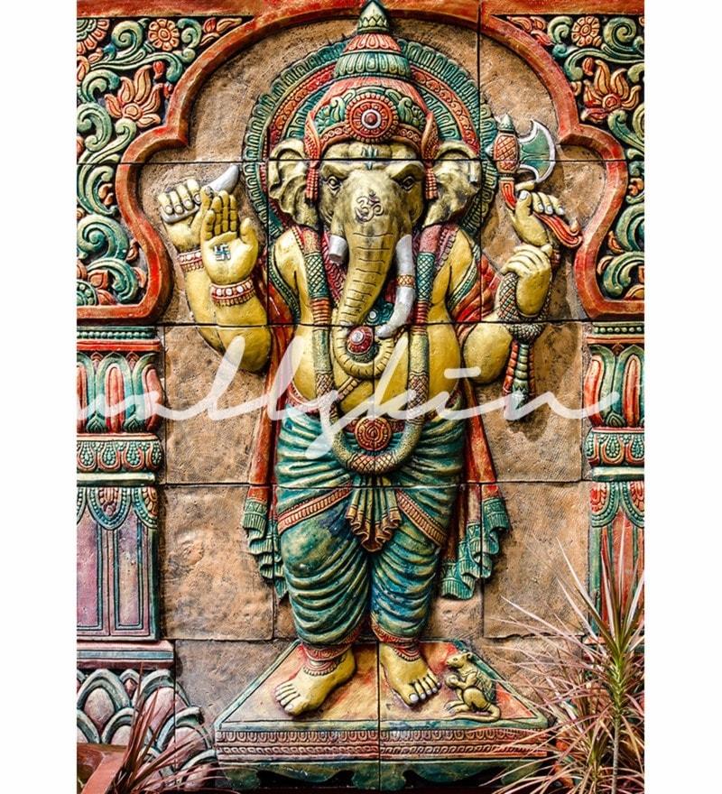 Buy Green Non Woven Paper Great Ganesha Wallpaper By Wallskin Online