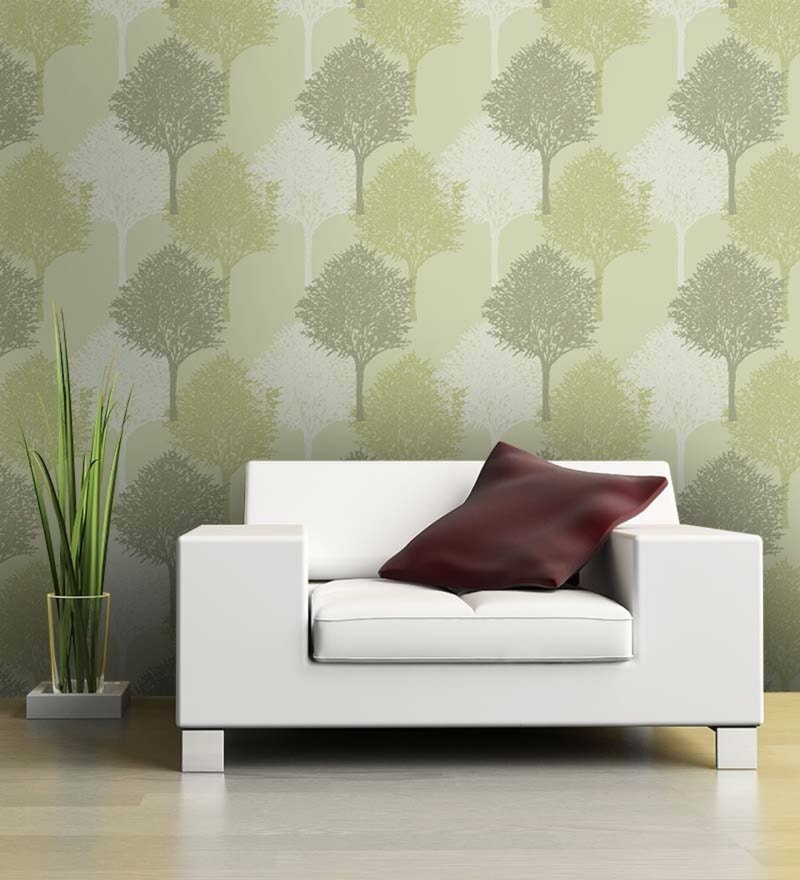 Green Non Woven Paper Textured Tree Walls Wallpaper by Wallskin