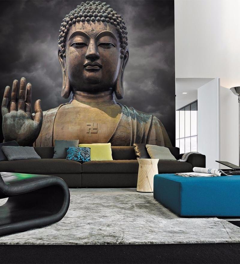 Grey Non Woven Paper Blessing Buddha Wallpaper by Wallskin