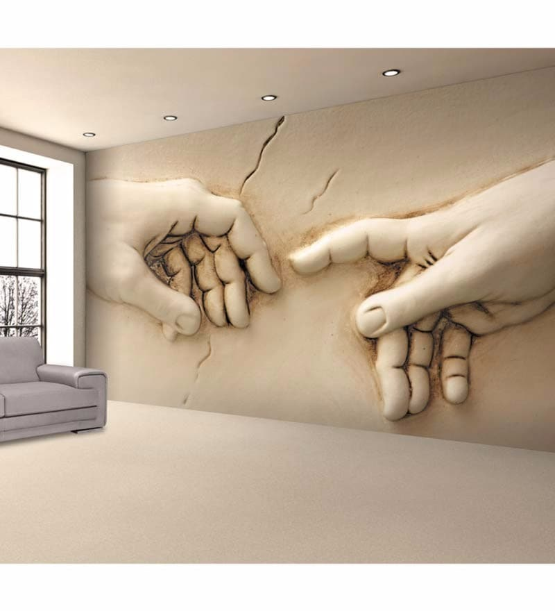 Ivory Non Woven Paper Hands Wallpaper by Wallskin