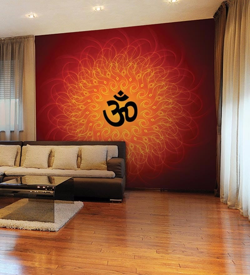 Orange Non Woven Paper Abstract Om with Waves Wallpaper by Wallskin