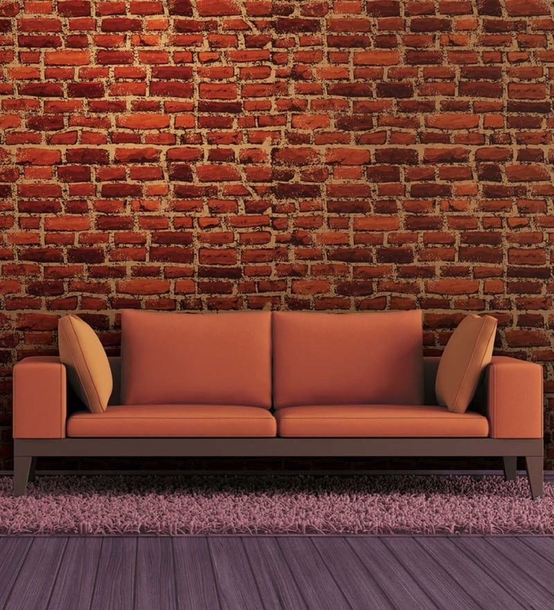 Red Non Woven Paper Brick Wallpaper by Wallskin
