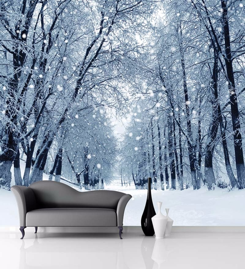 White Non Woven Paper Winter Forest Wallpaper by Wallskin