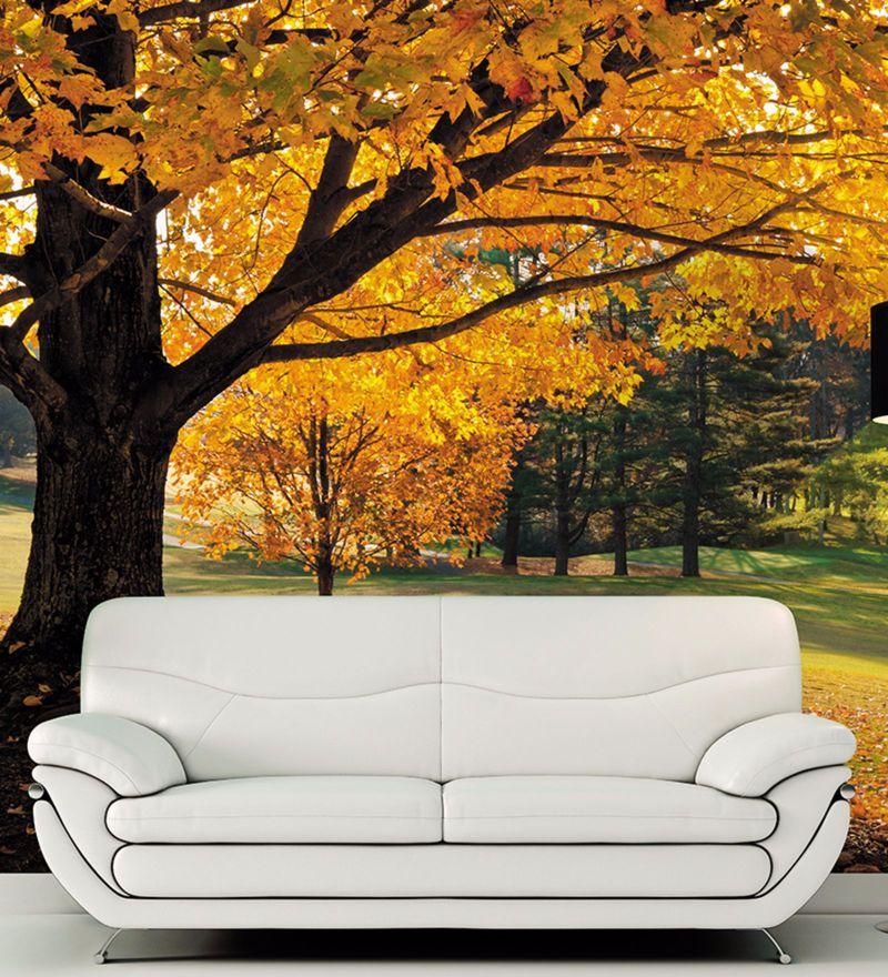 Yellow Non Woven Paper Autumn Garden Wallpaper by Wallskin