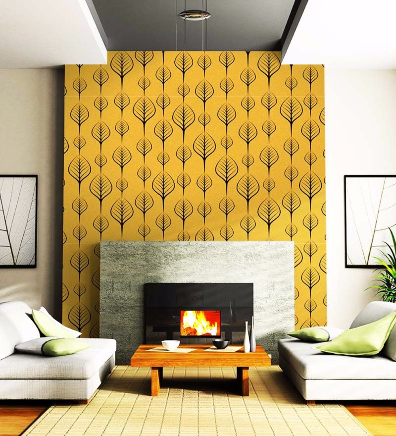 Yellow Non Woven Paper Leaf Pattern Wallpaper by Wallskin