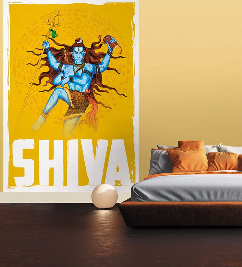 Yellow Non Woven Paper Mighty Shiva Wallpaper by Wallskin