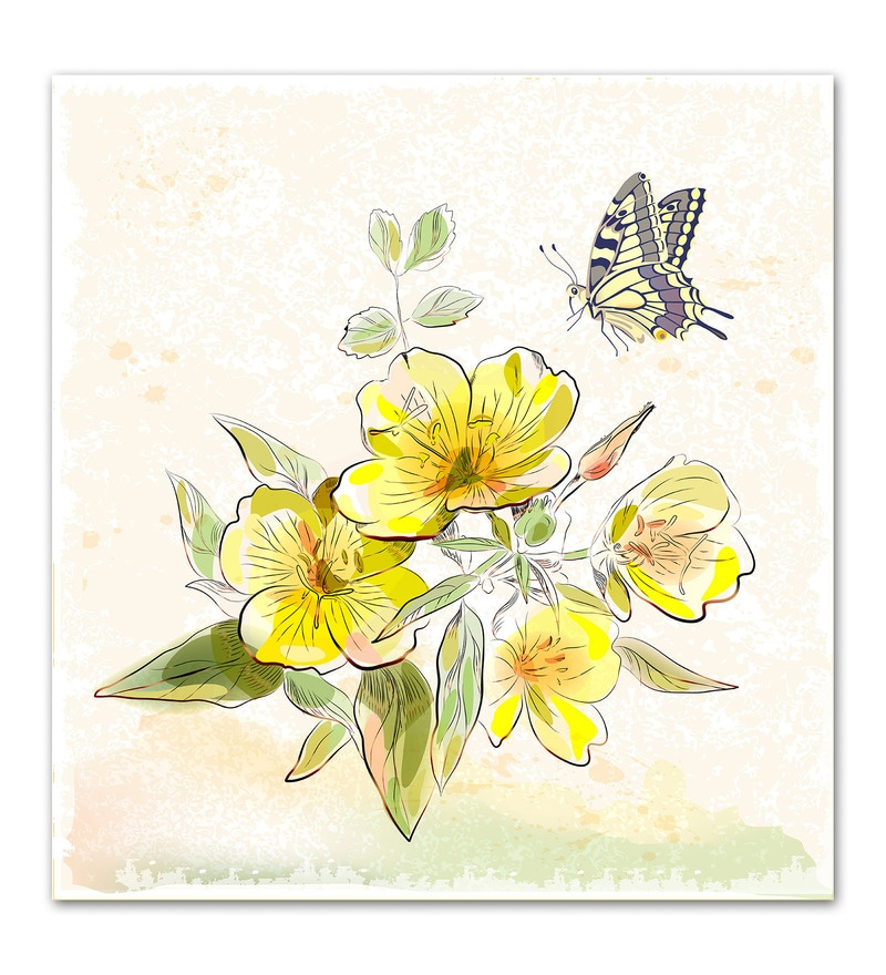 Photographic Paper Yellow Field Flowers & Butterfly Unframed Art Print by WallsnArt