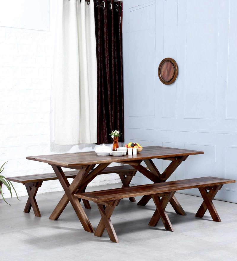 Warden Dining Set in Provincial Teak Finish by Woodsworth