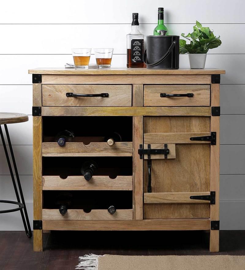 Warehouse Bar Cabinet in Natural Mango Wood Finish by Asian Arts