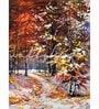 Canvas 18 x 24 Inch The Autumn Road Framed Digital Art Print by Wall Skin