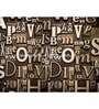 Brown Non Woven Paper Words Wallpaper by Wallskin