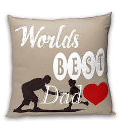 Welhome Cream 100% Cotton 16 X 16 Inch Snapshot Special Fathers Day Cushion Cover
