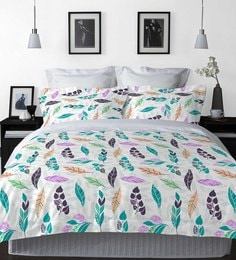 Welhome Turquoise And Green Cotton La-Piazza Bed Sheet Set
