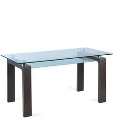 Wells Glass Top Six Seater Dining Table In Wenge Finish