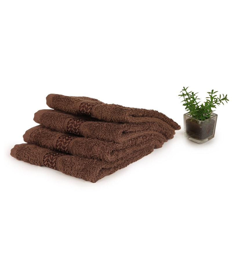 Welhome Brown 100% Cotton 12 x 12 Inch Unwinders Face Towel - Set of 4