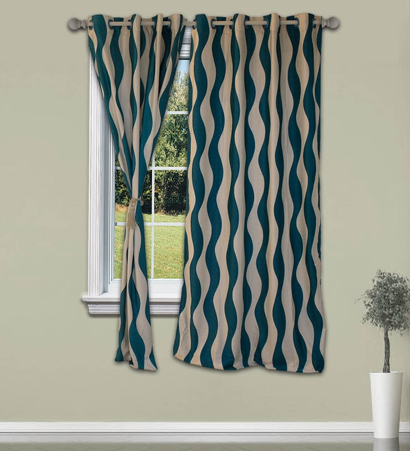 Cream And Blue Polyester 48 x 59 Inch Snapshot Window Curtain by Welhome