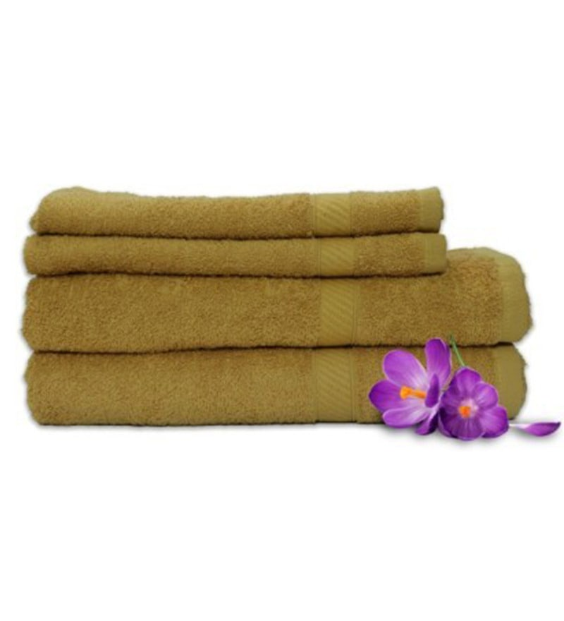 Golden 100% Cotton Snapshot Towels - Set of 4 by Welhome